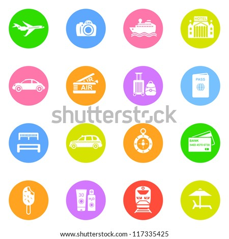 Travel icons in color circles isolated on white background. - stock vector