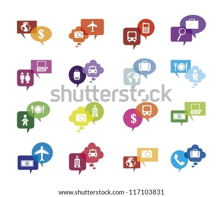 travel  icons isolated over white background. vector - stock vector