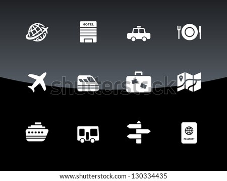 Travel icons on black background. Vector illustration. - stock vector