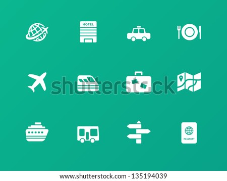 Travel icons on green background. Vector illustration. - stock vector