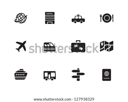 Travel icons on white background. Vector illustration. - stock vector