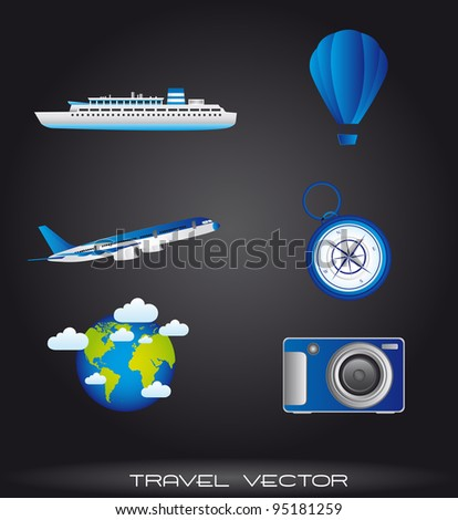 travel icons over gray background. vector illustration - stock vector
