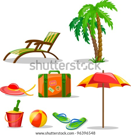 Travel icons, palm, ball, lounge, umbrella, bucket with a shovel, flip-flops and suitcase - stock vector