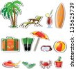 Travel icons, palm, ball, lounge, umbrella, flip-flops, flippers and suitcase - stock photo