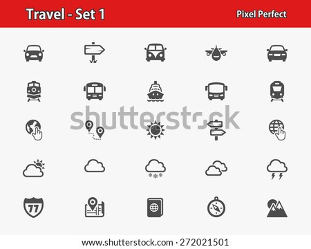 Travel Icons. Professional, pixel perfect icons optimized for both large and small resolutions. EPS 8 format. - stock vector