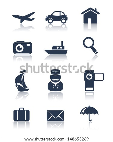 Travel icons set - stock vector