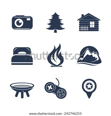 Travel icons set - stock vector