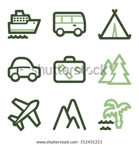 Travel icons set 1, green line contour series - stock vector