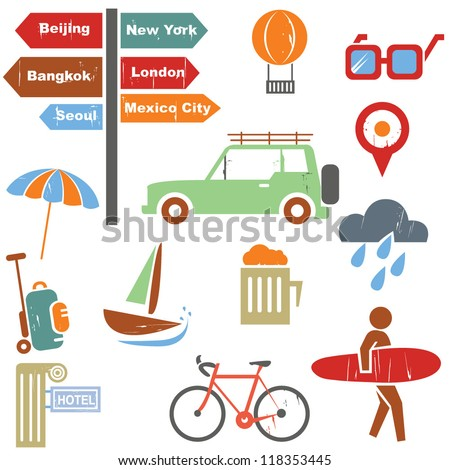 travel icons set in grunge, vintage style, web icons set - stock vector