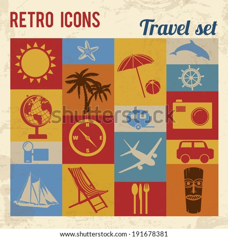 Travel icons set. Retro signs with grunge effect, vector illustration  - stock vector