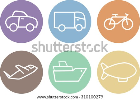 Travel icons set, types of transport - stock vector
