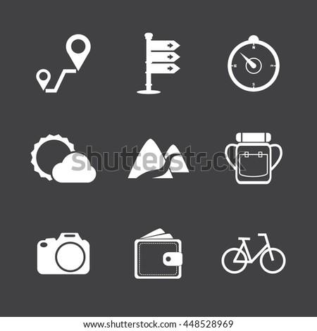 Travel icons set ,White icons on black background - stock vector
