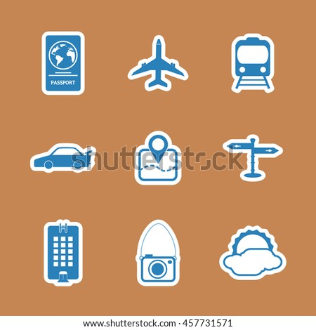 Travel icons set ,White icons on black background