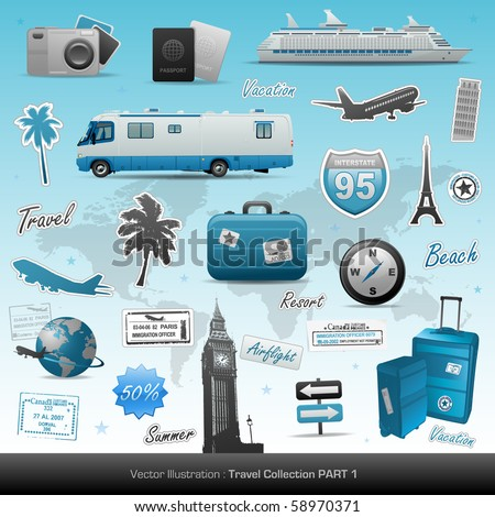 Travel icons symbol collection. Vector illustration - stock vector