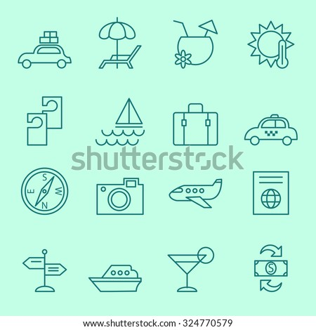 Travel icons, thin line design - stock vector