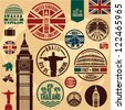 Travel icons. Travel stickers set. Travel stamps collection. - stock photo