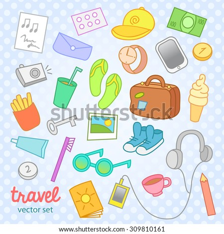 Travel icons, vector set