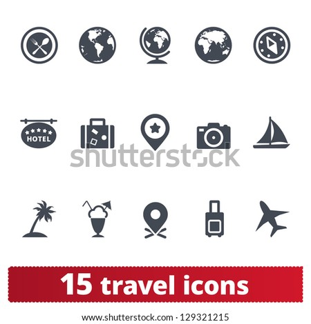 Travel icons: vector set of vacation, tourism, and holidays signs - stock vector