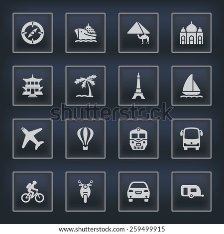 Travel icons with buttons on black background.