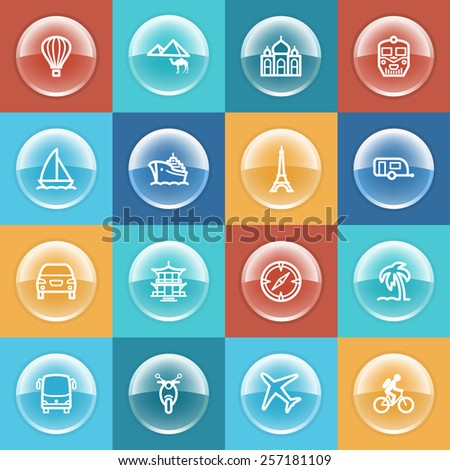 Travel icons with buttons on color background. - stock vector