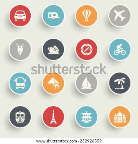 Travel icons with color buttons on gray background. - stock vector