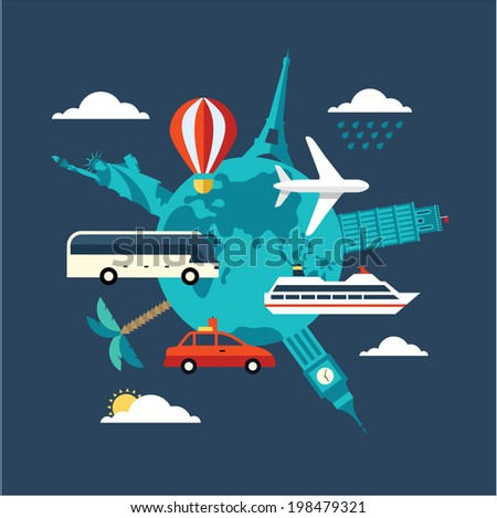 travel illustration - stock vector