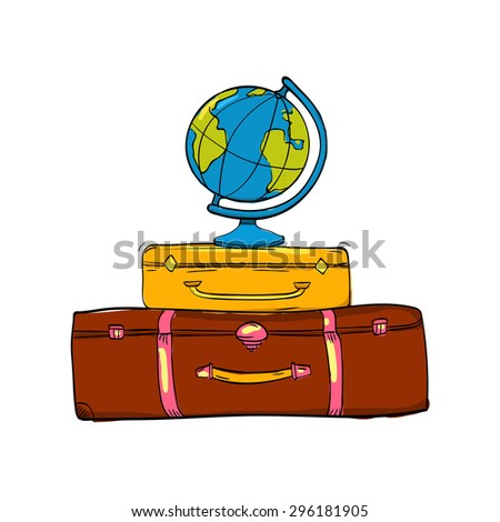 Travel illustration with vintage suitcases and globe, vector concept of vacation