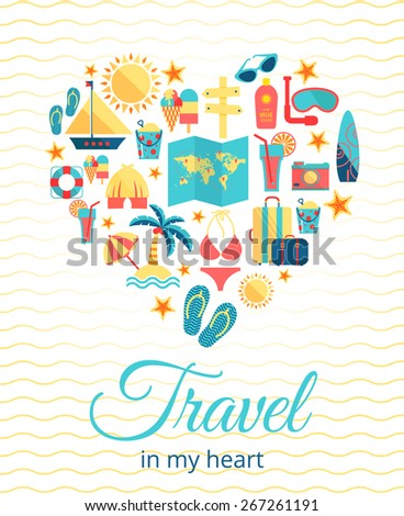 Travel in my heart. Vector concept . Heart with different travel flat icons
