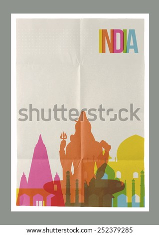 Travel India famous landmarks skyline on vintage paper sheet poster design background. Vector organized in layers for easy create your own website, brochure or marketing campaign. - stock vector