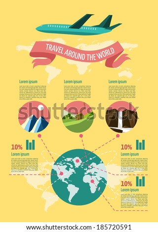 Travel Infographic set. flat design elements. Vector illustration. - stock vector