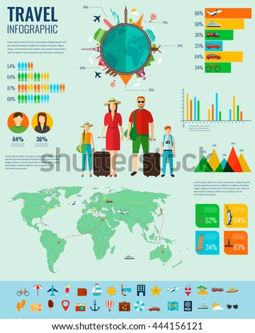 Travel Infographic set with charts and other elements. Vector illustration. - stock vector