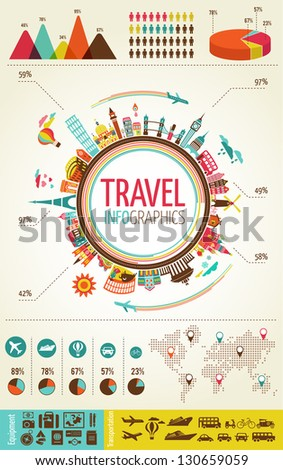 Travel infographics with data icons and elements - stock vector