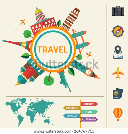 Travel infographics with data icons and elements. - stock vector