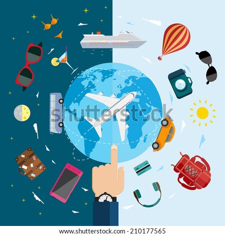 Travel infographics with data icons and elements. Flat vector illustration.  - stock vector