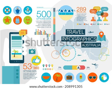 Travel infographics with data icons and elements, map of Australia. Flat style - stock vector