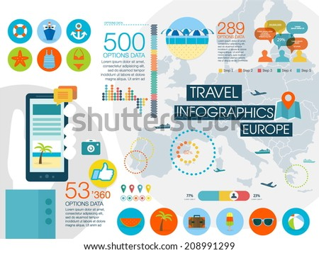 Travel infographics with data icons and elements, map of Europe. Flat style - stock vector