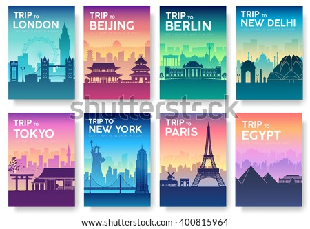 Travel information cards landscape template flyear stock for Country brochure template