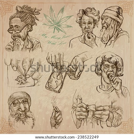 Travel: JAMAICA - Marijuana pack. Collection of an hand drawn vector illustrations. Each drawing comprise three layers of lines, the colored background is isolated. Easy editable in layers and groups. - stock vector