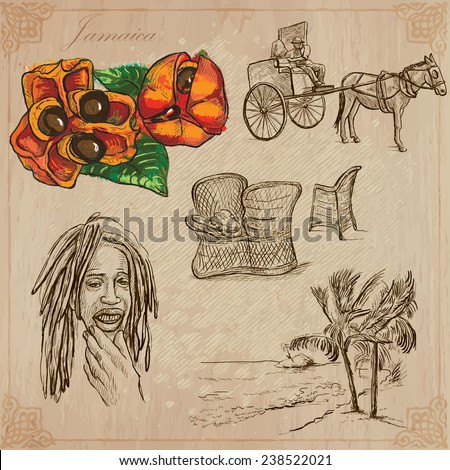 Travel: JAMAICA (set no.9) - Collection of an hand drawn vector illustrations. Each drawing comprise three layers of lines, the colored background is isolated. Easy editable in layers and groups. - stock vector