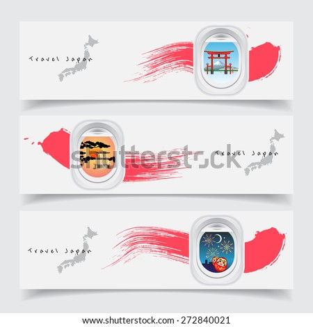 Travel Japan concept banner template air plane windows with land japan landmark torii gate, mountain fuji ,high speed train, golden pavilion, lucky doll and firework at night - stock vector