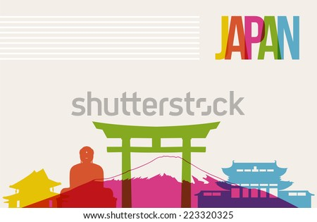 Travel Japan famous landmarks skyline multicolored design background. Transparency vector organized in layers for easy create your own website, brochure or marketing campaign. - stock vector