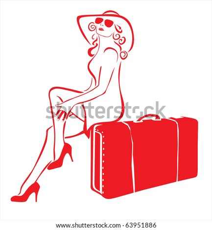 Travel lady - stock vector