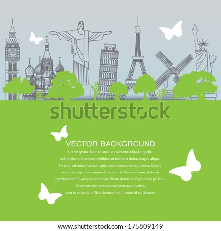 travel landmark background - stock vector