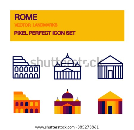 Travel landmarks icons - vector popular architecture and famous monument symbols in modern flat style. Outline icons. Rome, Italy - stock vector