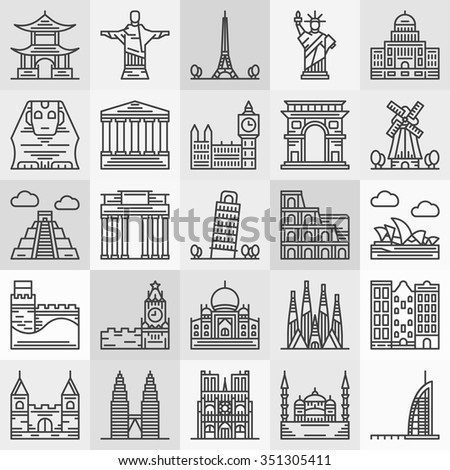 Travel landmarks icons - vector popular architecture and famous monument symbols in thin line style - stock vector