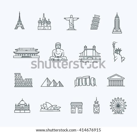 Travel landmarks line icon set - stock vector