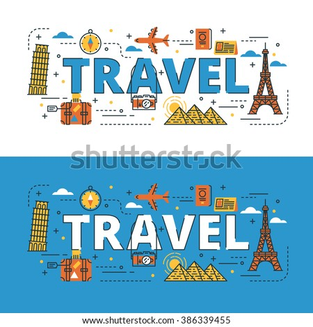 Travel lettering flat line design with icons and elements for book cover, report header, presentation,illustration, infographics, printing, website banner and landing page.