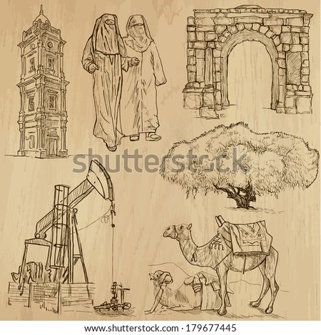 Travel : LIBYA set no.2. Collection of hand drawn illustrations. Each drawing comprises two or three layers of outlines, the colored background is isolated. - stock vector