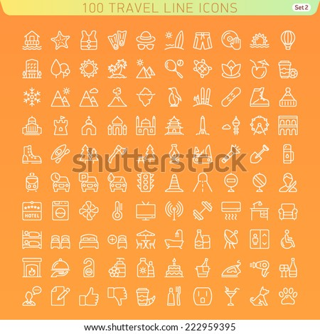 Travel Line Icons for Web and Mobile. Beach, Mountains and Hotel. Dark version. - stock vector