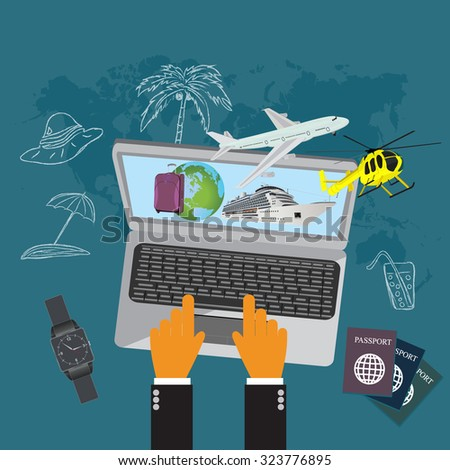 Travel, luggage, cruise liner, helicopter, airplane, flat vector illustration, apps, banner - stock vector